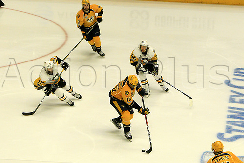 June 5th 2017, Nashiville, TN, USA;  Nashville Predators defenseman P.K. Subban (76) gains control of the puck in front of Pittsburgh Penguins left wing Carl Hagelin (62) and Pittsburgh Penguins right wing Bryan Rust (17) during Game 4 of the Stanley Cup Final between the Nashville Predators and the Pittsburgh Penguins, held on June 5, 2017, at Bridgestone Arena in Nashville, Tennessee.