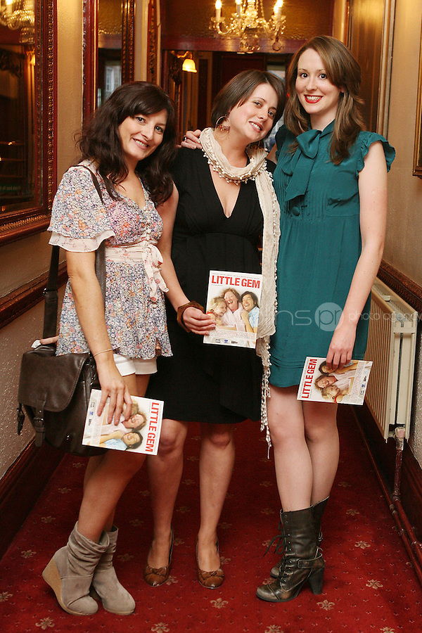 26/8/2010. NO REPRO FEE. Little Gem Opening night.  Mimi Rogue, Trish Conlon and Sarah Holton are pictured at the Olympia Theatre Dublin for the opening night of Little Gem. Hilda Fay makes her return as Lorraine, Anita Reeves continues in the role of Kay, and Genevieve Hulme-Beaman takes on the role of Amber. After sell-out seasons in New York, London and Paris and a sold-out 7-week run at Ireland's National Theatre, Gúna Nua is bringing its bittersweet comedy Little Gem back to Dublin for 10 shows only at The Olympia Theatre from August 26 to September 4, 2010. Love, sex, birth, death, dildos and salsa classes: Elaine Murphy's award winning Little Gem sees three generations of Dublin women on a wild and constantly surprising journey. Picture James Horan/Collins Photos