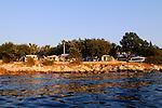 Campingplatz Glavodok, Campground, Camping in Glavodok, Krk Island, Dalmatia, Croatia. Insel Krk, Dalmatien, Kroatien. Krk is a Croatian island in the northern Adriatic Sea, located near Rijeka in the Bay of Kvarner and part of the Primorje-Gorski Kotar county. Krk ist mit 405,22 qkm nach Cres die zweitgroesste Insel in der Adria. Sie gehoert zu Kroatien und liegt in der Kvarner-Bucht suedoestlich von Rijeka.