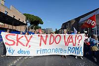 ROMA, 27 MAGGIO 2017<br /> Lavoratori e lavortrici SKY<br /> Manifestazione per Salvare Alitalia e salvare l'Italia, promossa dai sindacati di base USB ,CUB, Cobas, contro licenziamenti, precariet&agrave; e le politiche sul lavoro del Governo