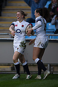 16th March 2018, Ricoh Arena, Coventry, England; Womens Six Nations Rugby, England Women versus Ireland Women; Rachael Burford of England celebrates scoring a try