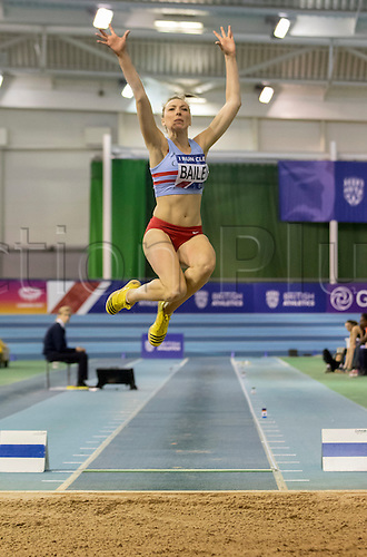 28.02.2016. EIS Sheffield, Sheffield, England. British Indoor Athletics Championships Day Two. Niamh Bailey (Corby) competing in the Women's Long Jump final.