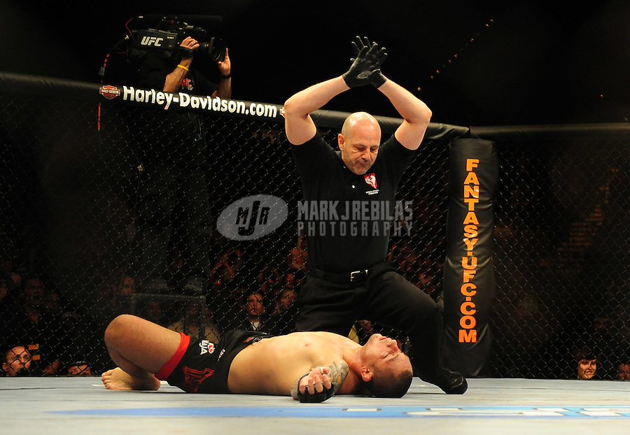 Jan. 31, 2009; Las Vegas, NV, USA; UFC fighter Thiago Silva lays on the mat after being knocked out by Lyoto Machida (not pictured) during the light heavyweight bout in UFC 94 at the MGM Grand Hotel and Casino. Mandatory Credit: Mark J. Rebilas-
