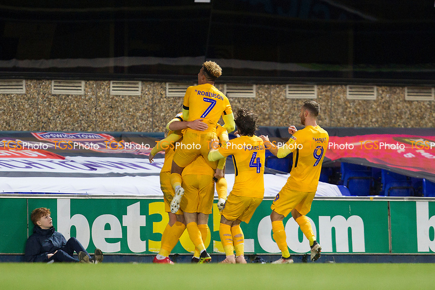 Preston North End players celebrate the equalising goal in front of the travelling fans during Ipswich Town vs Preston North End, Sky Bet EFL Championship Football at Portman Road on 3rd November 2018