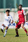Chen Pujai of R&F F.C (L) fights for the ball with Marcos De La Espada of Kwoon Chung Southern (R) during the week three Premier League match between Kwoon Chung Southern and R&F at Aberdeen Sports Ground on September 16, 2017 in Hong Kong, China. Photo by Marcio Rodrigo Machado / Power Sport Images