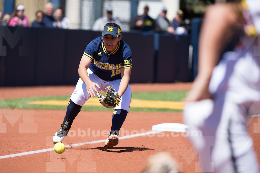 The University of Michigan softball team defeats Maryland, 16-0 (4 1/2 inn.), at Alumni Field in Ann Arbor, MI on April 23, 2016.