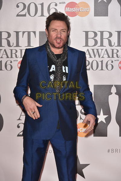 LONDON, ENGLAND - FEBRUARY 24: Simon Le Bon attends the BRIT Awards 2016 at The O2 Arena on February 24, 2016 in London, England<br /> CAP/PL<br /> &copy;Phil Loftus/Capital Pictures