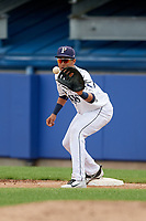 Princeton Rays first baseman Carlos Vargas (25) waits to receive a throw during the first game of a doubleheader against the Greeneville Reds on July 25, 2018 at Hunnicutt Field in Princeton, West Virginia.  Princeton defeated Greeneville 6-4.  (Mike Janes/Four Seam Images)