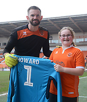 Blackpool's Mark Howard presents a signed shirt to a young supporter<br /> <br /> Photographer Kevin Barnes/CameraSport<br /> <br /> The EFL Sky Bet League One - Blackpool v Oxford United - Saturday 23rd February 2019 - Bloomfield Road - Blackpool<br /> <br /> World Copyright © 2019 CameraSport. All rights reserved. 43 Linden Ave. Countesthorpe. Leicester. England. LE8 5PG - Tel: +44 (0) 116 277 4147 - admin@camerasport.com - www.camerasport.com