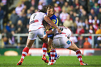 Picture by Alex Whitehead/SWpix.com - 16/03/2017 - Rugby League - Betfred Super League - Leigh Centurions v Warrington Wolves - Leigh Sports Village, Leigh, England - Warrington's Ashton Sims is tackled by Leigh's Atelea Vea and Micky Higham.