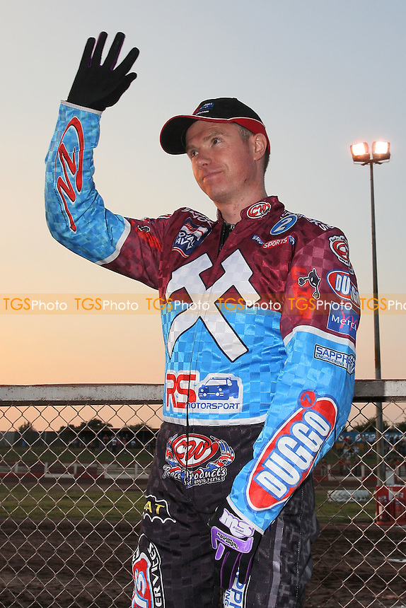 Stuart Robson of Lakeside waves to the crowd - Lakeside Hammers vs Birmingham Brummies - Sky Sports Elite League Speedway at Arena Essex Raceway, Purfleet - 10/08/12 - MANDATORY CREDIT: Gavin Ellis/TGSPHOTO - Self billing applies where appropriate - 0845 094 6026 - contact@tgsphoto.co.uk - NO UNPAID USE.