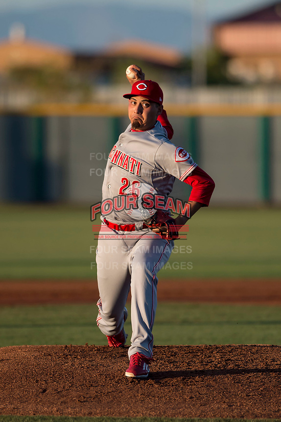 AZL Reds starting pitcher Daniel De La Fuente (26) delivers a pitch during an Arizona League game against the AZL Cubs 2 at Sloan Park on June 18, 2018 in Mesa, Arizona. AZL Cubs 2 defeated the AZL Reds 4-3. (Zachary Lucy/Four Seam Images)