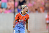 Houston, TX - Saturday July 16, 2016: Rachel Daly celebrates scoring during a regular season National Women's Soccer League (NWSL) match between the Houston Dash and the Portland Thorns FC at BBVA Compass Stadium.