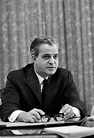 Le chef de l'Union Nationale et Premier ministre Jean-Jacques Bertrand, le 16 novembre 1968<br /> <br /> Photo d'archive : Agence Quebec Presse -  Photo Moderne