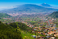 La Orotava, Valle de La Orotava, or Orotava Valley and Mount Teide volcano, Tenerife, Canary Islands, Spain