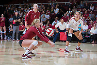 STANFORD, CA - September 9, 2018: Kate Formico, Kathryn Plummer, Morgan Hentz at Maples Pavilion. The Stanford Cardinal defeated #1 ranked Minnesota 3-1 in the Big Ten / PAC-12 Challenge.