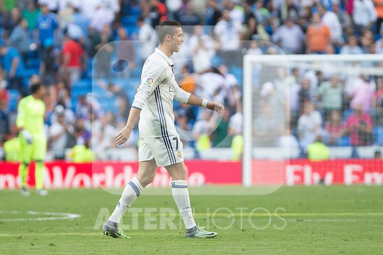 Real Madrid's Cristiano Ronaldo  during the match of La Liga between Real Madrid and SD Eibar at Santiago Bernabeu Stadium in Madrid. October 02, 2016. (ALTERPHOTOS/Rodrigo Jimenez)