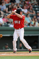 Center fielder Derek Miller (16) of the Greenville Drive bats in a game against the Augusta GreenJackets on Thursday, June 11, 2015, at Fluor Field at the West End in Greenville, South Carolina. Greenville won, 10-1. (Tom Priddy/Four Seam Images)
