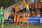 14 September 2013: Carolina's Ty Shipalane (RSA) (center) celebrates his goal with teammates. The Carolina RailHawks played the Tampa Bay Rowdies at WakeMed Stadium in Cary, North Carolina in a North American Soccer League Fall 2013 Season regular season game. The game ended in a 2-2 tie.