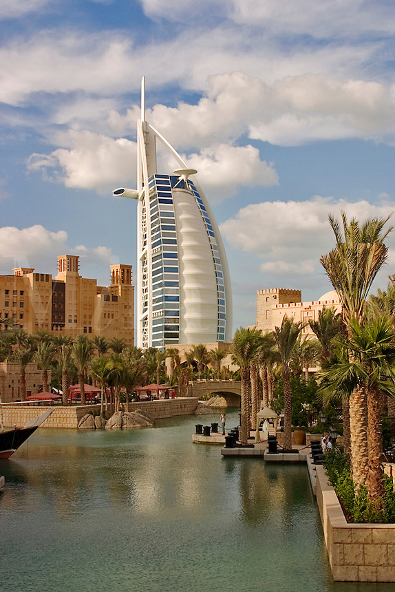 Dubai, United Arab Emirates. Madinat Jumeirah. Burj al Arab Hotel, .Mina A'Salam Hotel and Convention Centre..