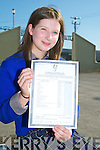 Emily Cahill (Fossa) Presentation Secondary School, Miltown who got top marks in her Junior Cert 11a