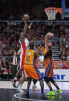 VALENCIA, SPAIN - 05/12/2014. Williams del Estrella Roja y Sato, Dubljevic del Valencia Basket durante el partido. Pabellon Fuente de San Luis, Valencia, Spain.