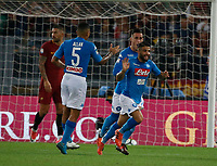 Lorenzo Insigne celebrates after scoring during the  italian serie a soccer match, AS Roma -  SSC Napoli       at  the Stadio Olimpico in Rome  Italy , 14 ottobre 2017