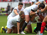Marlie Packer and Sarah Hunter in action at a scrum. WRWC England v Canada, World Cup Final at Stade Jean Bouin, Avenue du Général Sarrail, Paris, France, on 17th August 2014
