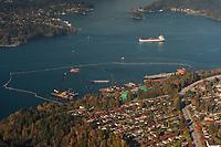 Burnaby residential area, Kinder Morgan Westridge Marine Tanker Terminal, Oil Tankers, and Burrard Inlet.