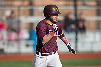 Fran Kinsey (4) of the Iona Gaels hustles down the first base line against the Rutgers Scarlet Knights at City Park on March 8, 2017 in New Rochelle, New York.  The Scarlet Knights defeated the Gaels 12-3.  (Brian Westerholt/Four Seam Images)