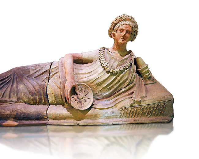 2nd Century B.C terractta sarcophagus lid from Tuscania with traces of colour paint, inv 75280,  National Archaeological Museum Florence, Italy , white background
