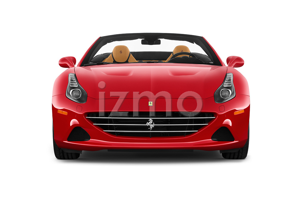 Car photography straight front view of a 2016 Ferrari California-T 2 Door Convertible Front View