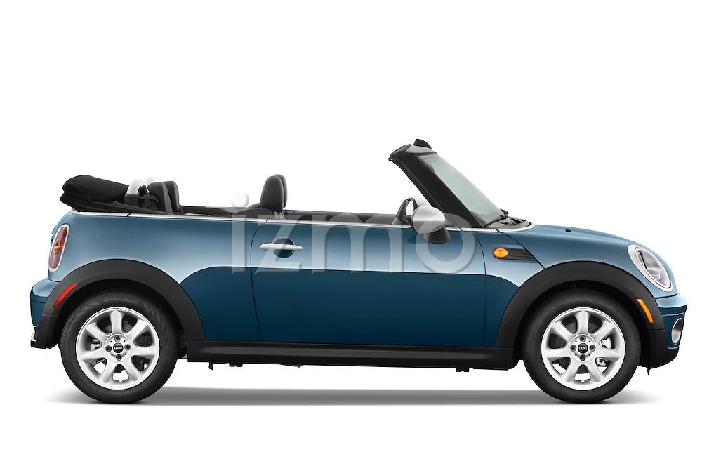 Passenger side profile view of a 2010 Mini Cooper Convertible.