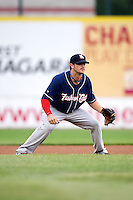 New Hampshire Fisher Cats second baseman John Tolisano #23 during an Eastern League game against the Erie Seawolves at Jerry Uht Park on August 9, 2012 in Erie, Pennsylvania.  Erie defeated New Hampshire 6-0.  (Mike Janes/Four Seam Images)