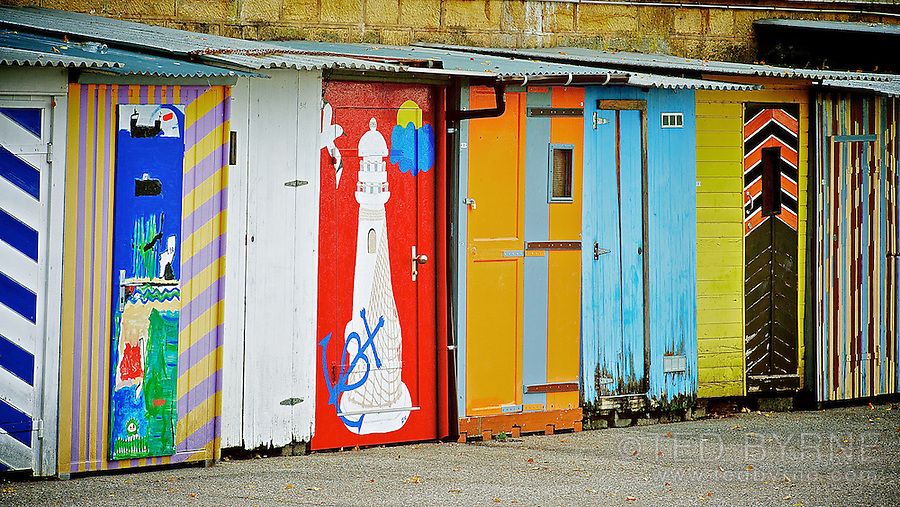 Colourful fishing sheds at Neuchâtel Port
