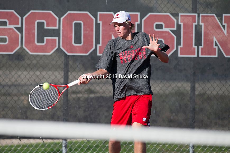DWisconsin Badgers John Zordani of the men's tennis team hits the ball on October 2, 2013, in Madison, Wisconsin. (Photo by David Stluka)