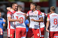 James Ball of Stevenage scores the first Goal and celebrates  during Stevenage vs Tranmere Rovers, Sky Bet EFL League 2 Football at the Lamex Stadium on 4th August 2018