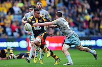 Siale Piutau of Wasps takes on the Northampton Saints defence. Aviva Premiership match, between Wasps and Northampton Saints on April 3, 2016 at the Ricoh Arena in Coventry, England. Photo by: Patrick Khachfe / JMP