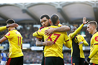 1st February 2020; Vicarage Road, Watford, Hertfordshire, England; English Premier League Football, Watford versus Everton; Troy Deeney of Watford hugging Roberto Pereyra of Watford in the celebration after Roberto Pereyra of Watford scored his sides 2nd goal in the 42nd minute to make it 2-0