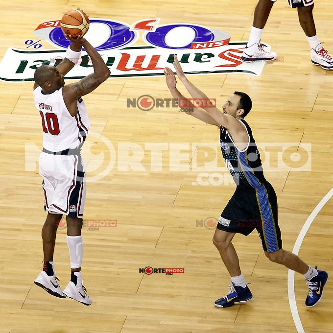 USA's Kobe Bryant (l) and Argentina's Emanuel Ginobili during friendly match.July 22,2012. (ALTERPHOTOS/Acero) /NortePhoto.com*2012-07-22<br /> **CREDITO*OBLIGATORIO** <br /> *No*Venta*A*Terceros*<br /> *No*Sale*So*third*<br /> *** No Se Permite Hacer Archivo**