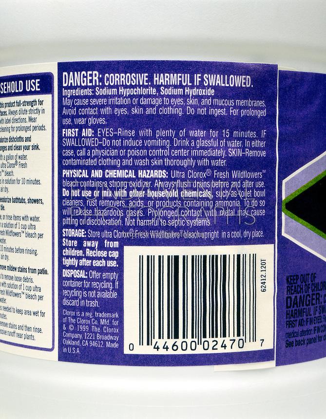 HOUSEHOLD CHLORINE BLEACH<br /> Closeup of Corrosive Warning Label<br /> Sodium hypochlorite and sodium hydroxide.