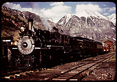 RGS #74 with RMRRC excursion train parked for the evening at Telluride aftger returning from Pandora.  Consist is engine #74, business car B-20 &quot;Edna&quot;, coach #311, gons #1541 &amp; #1089, caboose #0400.  The train was turned at the Pandora wye.<br /> RGS  Telluride, CO  5/28/1949