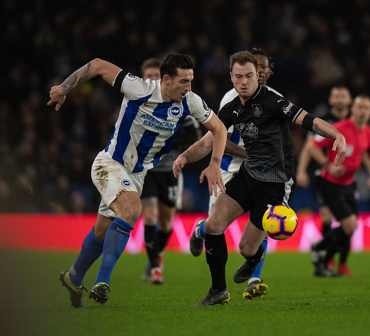 Burnley's Ashley Barnes (right) battles with Brighton & Hove Albion's Lewis Dunk (left) <br /> <br /> Photographer David Horton/CameraSport<br /> <br /> The Premier League - Brighton and Hove Albion v Burnley - Saturday 9th February 2019 - The Amex Stadium - Brighton<br /> <br /> World Copyright © 2019 CameraSport. All rights reserved. 43 Linden Ave. Countesthorpe. Leicester. England. LE8 5PG - Tel: +44 (0) 116 277 4147 - admin@camerasport.com - www.camerasport.com