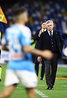 1st December 2019; Stadio San Paolo, Naples, Campania, Italy; Serie A Football, Napoli versus Bologna; Manager of Napoli, Carlo Ancelotti goes to congratulate his players as his team take the lead for 1-0 in the 41st minute from a Fernando Llorente goal - Editorial Use