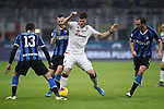 Alberto Cerri of Cagliari is challenged by Marcelo Brozovic as Diego Godin and Andrea Ranocchia of Inter during the Coppa Italia match at Giuseppe Meazza, Milan. Picture date: 14th January 2020. Picture credit should read: Jonathan Moscrop/Sportimage