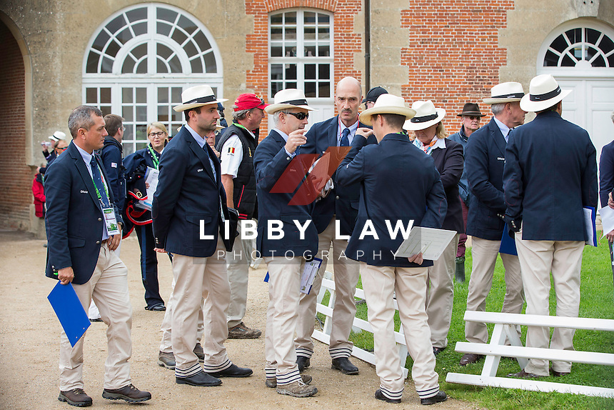 The Ground Jury prepare for: FIRST HORSE INSPECTION: EVENTING: The Alltech FEI World Equestrian Games 2014 In Normandy - France (Wednesday 27 August) CREDIT: Libby Law COPYRIGHT: LIBBY LAW PHOTOGRAPHY - NZL