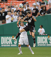DC United defender Dejan Jakovic (5) goes up to head the ball against Real Salt Lake forward Fabian Espindola (7)   DC United and Real Salt Lake tied 0-0 at RFK Stadium, Wednesday  June 2  2010.
