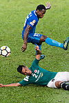 Christian Kwesi of SC Kitchee (R) trips up with Chi Ho lee of Long Lions (L) during the Community Cup match between Kitchee and Eastern Long Lions at Mong Kok Stadium on September 23, 2017 in Hong Kong, China. Photo by Marcio Rodrigo Machado / Power Sport Images