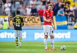 Solna 2014-07-12 Fotboll Allsvenskan AIK - Kalmar FF :  <br /> Kalmars David Elm reagerar efter att AIK:s Nabil Bahoui  gjort 1-0<br /> (Foto: Kenta J&ouml;nsson) Nyckelord:  AIK Gnaget Friends Arena Kalmar KFF depp besviken besvikelse sorg ledsen deppig nedst&auml;md uppgiven sad disappointment disappointed dejected arg f&ouml;rbannad ilsk ilsken sur tjurig angry