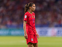 LYON,  - JULY 2: Tobin Heath #17 watches the field during a game between England and USWNT at Stade de Lyon on July 2, 2019 in Lyon, France.
